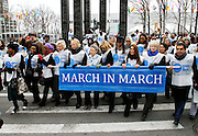 Cindy McCain, Trudie Styler, Ban Soon-taek, Kim Cattrall, Muna Rihani Al-Nasser and Nassir Abdullaziz Al-Nasser attend the March To End Violence Against Women at the United Nations Headquarters in New York City, New York on March 07, 2014.