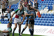 Late try scorer Leigh Halfpenny (r) celebrates his try with Sam Warburton (l). Cardiff Blues v Harlequins , Heineken cup match at the Cardiff City Stadium on Sat 10th Oct 2009. pic by Andrew Orchard,