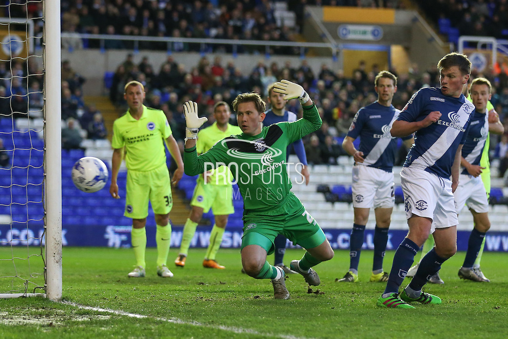 Birmingham City goalkeeper Tomasz Kuszczak (29)  watches as the ball goes wide during the Sky Bet Championship match between Birmingham City and Brighton and Hove Albion at St Andrews, Birmingham, England on 5 April 2016. Photo by Simon Davies.