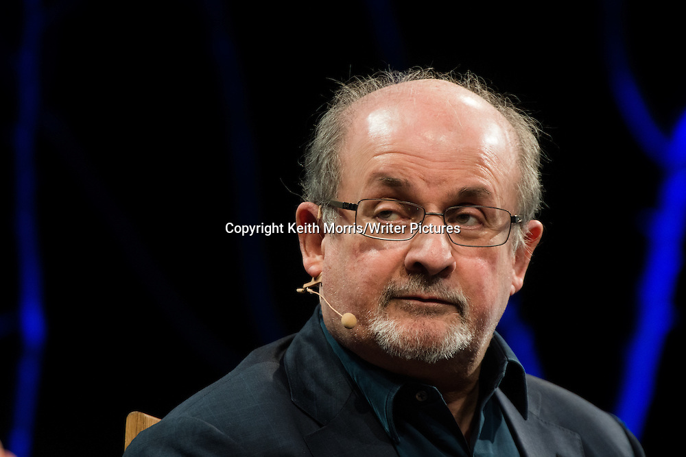 Salman Rushdie at The Hay Festival of Literature and the Arts, May 30  2016<br /> <br /> Picture by Keith Morris/Writer Pictures