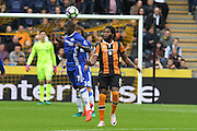 Chelsea midfielder Ngolo Kante (7) clears ball from Hull City player Dieumerci Mbokani (18)  during the Premier League match between Hull City and Chelsea at the KCOM Stadium, Kingston upon Hull, England on 1 October 2016. Photo by Ian Lyall.