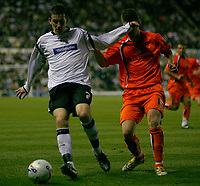 Photo: Steve Bond.<br />Derby County v Luton Town. Coca Cola Championship. 20/04/2007. David Jones (L) and Stephen O'Leary (R) tussle for the ball