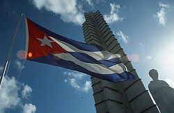Monument to the Revolution in Revolution Square; Havana; Cuba; with statue of Jose Marti; Cuban Revolutionary; and Cuban flag,