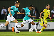 Forest Green Rovers Tahvon Campbell(14) runs forward during the EFL Trophy match between Forest Green Rovers and Cheltenham Town at the New Lawn, Forest Green, United Kingdom on 4 September 2018.