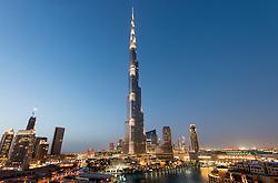 Night view of Burj Khalifa Tower world's tallest building in Downtown Dubai UAE