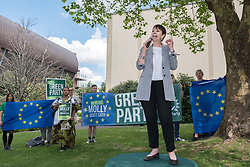 © Licensed to London News Pictures. 20/05/2019. Bristol, UK. CAROLINE LUCAS MP, Green Party. The Green Party hold a rally at the University of Bristol Royal Fort Gardens as part of campaigning in the elections for the European Parliament. Speakers included Green MP Caroline Lucas, and south west England candidates Molly Scott Cato and Carla Denyer. Photo credit: Simon Chapman/LNP