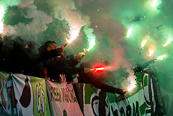 Green Dragons, fans of Olimpija and pyrotechnic firework during football match between NK Olimpija Ljubljana and NK Maribor in 15th Round of Prva liga Telekom Slovenije 2015/16, on November 21, 2015 in SRC Stozice, Ljubljana, Slovenia. Photo by Vid Ponikvar / Sportida