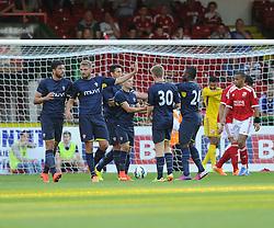 Southampton's Jos Hooiveld celebrates his goal - Photo mandatory by-line: Joe Meredith/JMP - Mobile: 07966 386802 21/07/2014 - SPORT - FOOTBALL - Swindon - County Ground - Swindon Town v Southampton
