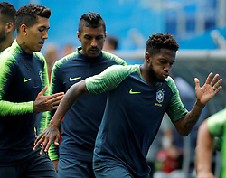June 21, 2018 - Saint Petersburg, Russia - (L to R) Roberto Firmino, Paulinho and Fred during a Brazil national team training session during the FIFA World Cup 2018 on June 21, 2018 at Saint Petersburg Stadium in Saint Petersburg, Russia. (Credit Image: © Mike Kireev/NurPhoto via ZUMA Press)