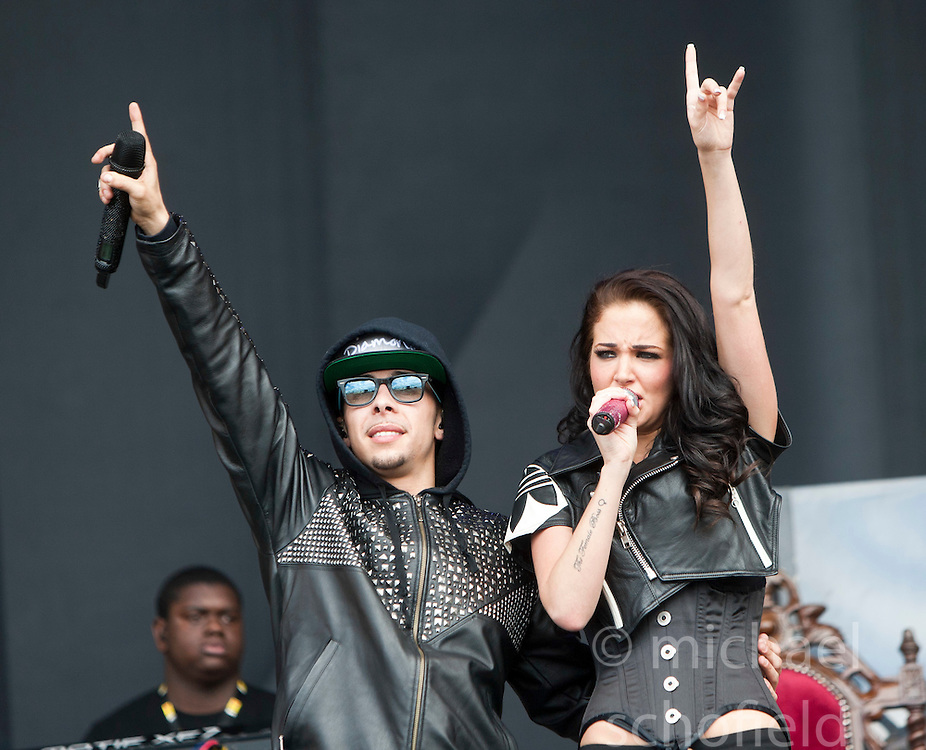 "Dino ""Dappy"" Contostavlos and Tula ""Tulisa"" Contostavlos of N-Dubz play the main stage..T in the Park on Saturday 9th July 2011. T in the Park 2011 music festival takes place from 7-10th July 2011 in Balado, Fife, Scotland..©Pic : Michael Schofield."