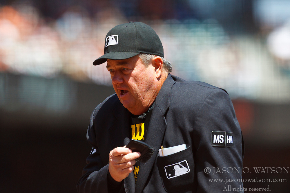 SAN FRANCISCO, CA - AUGUST 25: MLB umpire Joe West #22 stands behind home plate during the first inning between the San Francisco Giants and the Atlanta Braves at AT&T Park on August 25, 2012 in San Francisco, California. The Atlanta Braves defeated the San Francisco Giants 7-3. (Photo by Jason O. Watson/Getty Images) *** Local Caption *** Joe West