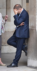 © Licensed to London News Pictures. 30/06/2016. London, UK. Jake Berry MP rubs his head at Parliament after Boris Johnson announced he would not be standing for Conservative party leader. Jake Berry was part of Boris' leadership bid team.  Photo credit: Peter Macdiarmid/LNP