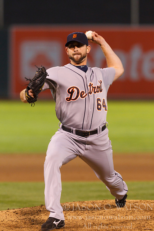 September 15, 2011; Oakland, CA, USA;  Detroit Tigers relief pitcher Duane Below (64) pitches against the Oakland Athletics during the sixth inning at O.co Coliseum.  Oakland defeated Detroit 6-1.