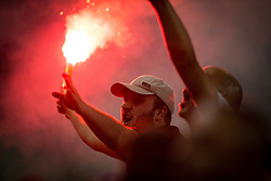 Supporters of Olimpija celebrate  after winning during football match between NK Aluminij and NK Olimpija Ljubljana in the Final of Slovenian Football Cup 2017/18, on May 30, 2018 in SRC Stozice, Ljubljana, Slovenia. Photo by Vid Ponikvar / Sportida