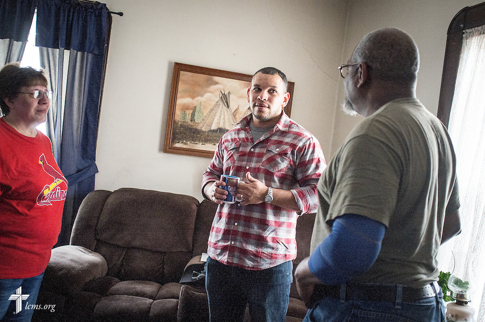 Micah Glenn, a fourth-year Master of Divinity student at Concordia Seminary, St. Louis (center) and new national missionary to Ferguson, spends time with his parents Kathleen and Ellory Glenn at their home on Wednesday, April 20, 2016, in Ferguson, Mo. Glenn grew up in the community with his family after moving from Hawaii. LCMS Communications/Erik M. Lunsford
