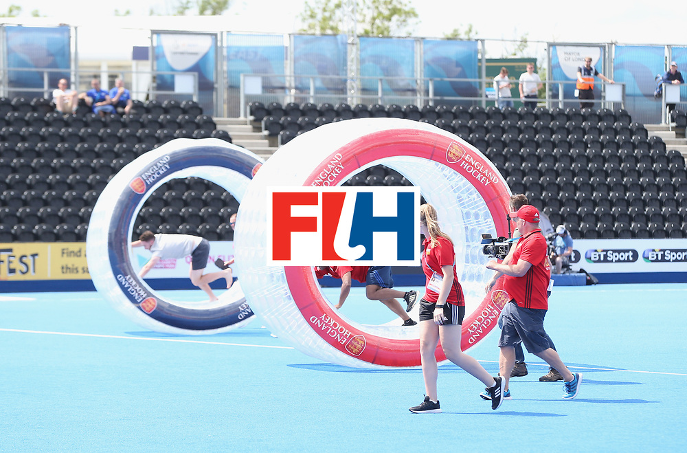 LONDON, ENGLAND - JUNE 15:  Half time entertainment during the Hero Hockey World League Semi Final match between India and Scotland at Lee Valley Hockey and Tennis Centre on June 15, 2017 in London, England.  (Photo by Alex Morton/Getty Images)