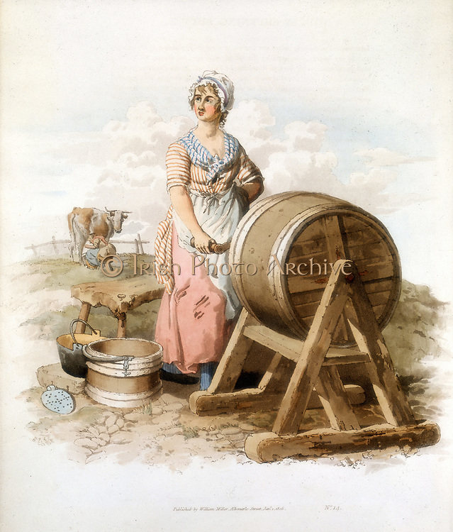 Women making butter. Wooden churn, pail, form, etc. From William Henry Pyne 'Costume of Great Britain', London 1808. Colour