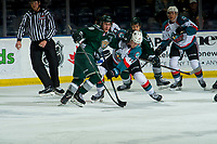 KELOWNA, CANADA - FEBRUARY 15:  Connor Dewar #43 of the Everett Silvertips checks Alex Swetlikoff #17 of the Kelowna Rockets after the face off during first period on February 15, 2019 at Prospera Place in Kelowna, British Columbia, Canada.  (Photo by Marissa Baecker/Shoot the Breeze)
