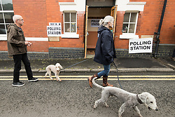 © Licensed to London News Pictures . 08/06/2017. Congleton, UK. People with dogs voting in the general election , at a polling station in Rood Lane Methodist Church . Photo credit: Joel Goodman/LNP