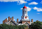 Dunster House dormitory with clock tower, Harvard University, Cambridge, Massachusetts, USA.