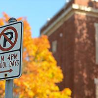 The no parking signs remain at the Kellog building.