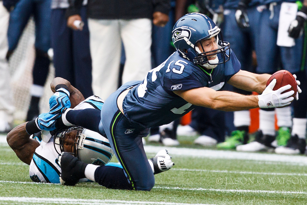 December 5, 2010; Seattle, WA, USA;  Seattle Seahawks wide receiver Brandon Stokley (15) lunges for a first down after a pass reception against the Carolina Panthers during the second quarter at Qwest Field. Seattle defeated Carolina 31-14.