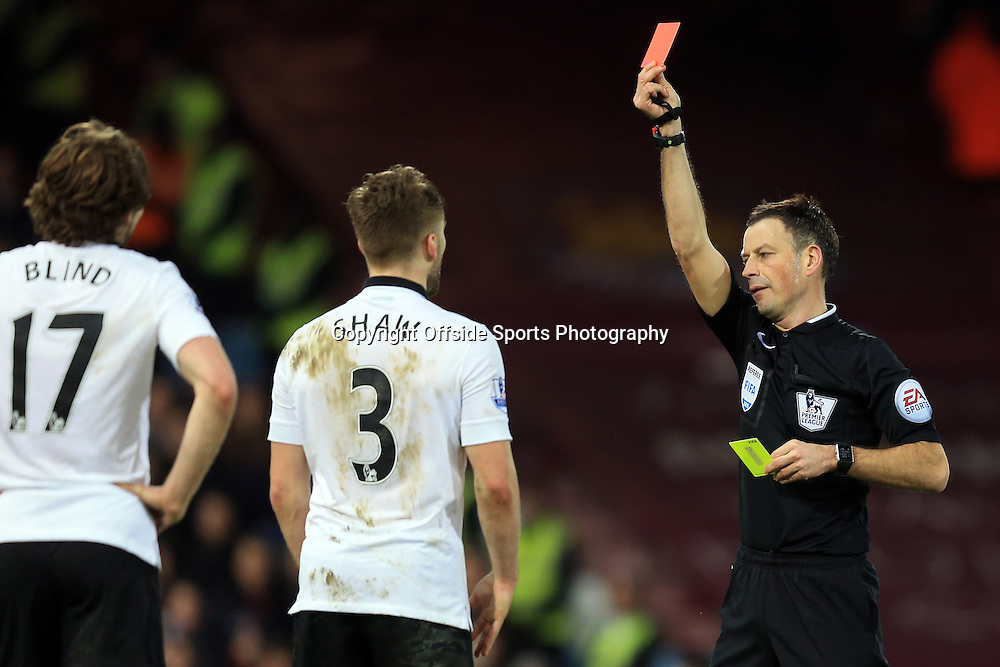 8 February 2015 - Barclays Premier League - West Ham United v Manchester United - Daly Blind of Manchester United looks on as team mate, Luke Shaw is shown a 2nd yellow card and sent off for a tackle on Stewart Downing of West Ham - Photo: Marc Atkins / Offside.