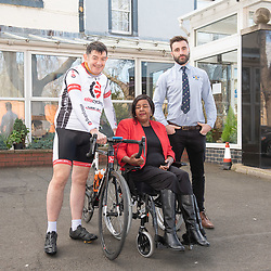 A Charity Bike Ride is linking the two Portobellos in Edinburgh and London this weekend. A former Edinburgh Portobello resident Gordon Barclay will set off tomorrow (Sunday 24th) to cycle to London. The ride will raise funds for Clarrie Mendy, who tragically lost 2 relatives in the Grenfell Tower Disaster and has now been diagnosed with Motor Neurone Disease, and for Doddie Weir's MY NAME5 DODDIE foundation. Pictured: Gordon Barclay, Clarrie Mendy, Eddie Robb (President of Portobello Rugby Club)<br /> <br /> <br /> © Jon Davey/ EEm
