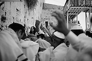 JERUSALEM: Celebration of Bar Mitzvah at the Western Wall. According to Jewish law when Jewish boys become 13 years old they become accountable for their actions and become a bar mitzvah. Copyright Christian Minelli