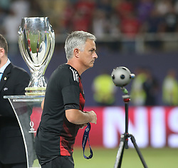 August 8, 2017 - Skopje, Macedonia - Jose Mourinho, Manager of Manchester United after the UEFA Super Cup match between Real Madrid and Manchester United at National Arena Filip II Macedonian on August 8, 2017 in Skopje, Macedonia. (Credit Image: © Raddad Jebarah/NurPhoto via ZUMA Press)