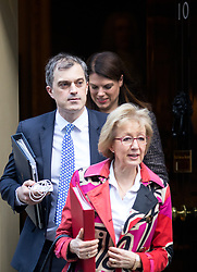 © Licensed to London News Pictures. 16/01/2018. London, UK. Chief Whip Julian Smith and Leader of the House of Commons Andrea Leadsom leaving Downing Street after attending a Cabinet meeting this morning. Photo credit : Tom Nicholson/LNP