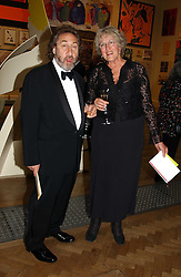 HOWARD JACOBSON and PROF.GERMAINE GREER at the Royal Academy dinner before the official opening of the Summer Exhibition held at the Royal Academy of Art, Burlington House, Piccadilly, London W1 on 1st June 2005.<br />