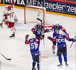 05.05.2013, Globe Arena, Stockholm, SWE, IIHF, Eishockey WM, Slowenien vs Weissrussland, im Bild Slovenia (Slovenien) jubel glädje lycka glad happy, Slovenia (Slovenien) 8 Ziga Jeglic, Slovenia (Slovenien) 24 Rok Ticar  // during the IIHF Icehockey World Championship Game between Slovenia and Belarus at the Ericsson Globe, Stockholm, Sweden on 2013/05/05. EXPA Pictures © 2013, PhotoCredit: EXPA/ PicAgency Skycam/ Johan Andersson ***** ATTENTION - OUT OF SWE *****