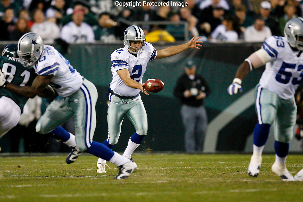 28 Dec 2008: Dallas Cowboys punter Sam Paulescu #2 punts the ball during the game against the Philadelphia Eagles on December 28th, 2008. The Philadelphia Eagles won 44-6 at Lincoln Financial Field in Philadelphia, Pennsylvania.