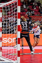 06-12-2019 JAP: Norway - Netherlands, Kumamoto<br /> Last match groep A at 24th IHF Women's Handball World Championship. / The Dutch handball players won in an exciting game of fear gegner Norway and wrote in the last group match at the World Handball  World Championship history (30-28). / Tess Wester #33 of Netherlands, Malin Larsen Aune #11 of Norway