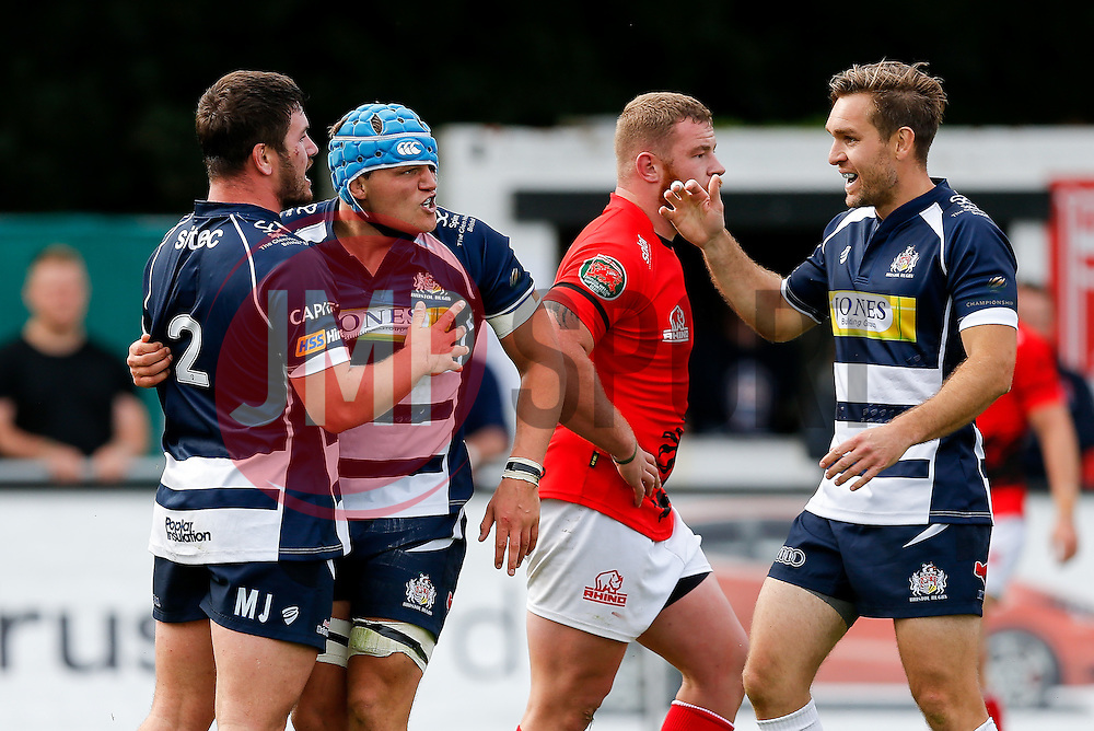 Bristol Rugby Flanker Olly Robinson celebrates scoring a try which is then disallowed by the TMO - Mandatory byline: Rogan Thomson/JMP - 07966 386802 - 13/09/2015 - RUGBY UNION - Old Deer Park - Richmond, London, England - London Welsh v Bristol Rugby - Greene King IPA Championship.