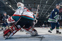 KELOWNA, CANADA - APRIL 5: Jordon Cooke #30 of the Kelowna Rockets defends the net against the Seattle Thunderbirds on April 5, 2014 during Game 2 of the second round of WHL Playoffs at Prospera Place in Kelowna, British Columbia, Canada.   (Photo by Marissa Baecker/Getty Images)  *** Local Caption *** Jordon Cooke;