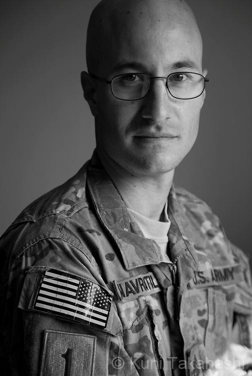 Staff SGT Ben Navratil, 29, of Rockaway, NJ.Public Relations for 3-1 Infantry Task Force Duke.at FOB Salerno in Afghanistan on Aug 12, 2011.(Photo by Kuni Takahashi)