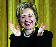 A 7.68 IMAGE OF:.Washington, DC 1/4/01   Happy Hillary.  Senator Hillary Rodham Clinton at a White House ceremony to celebrate the enactment of the Breast Cancer and Cervical Cancer Act of 2000   Dennis Brack