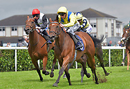 Lucky Lucrecia ridden by Daniel Tudhope wins Payzone Stars Maiden Fillies Stakes during the Racing Welfare Charity Raceday meeting at Doncaster Racecourse, Doncaster<br /> Picture by Martin Lynch/Focus Images Ltd 07501333150<br /> 07/07/2017