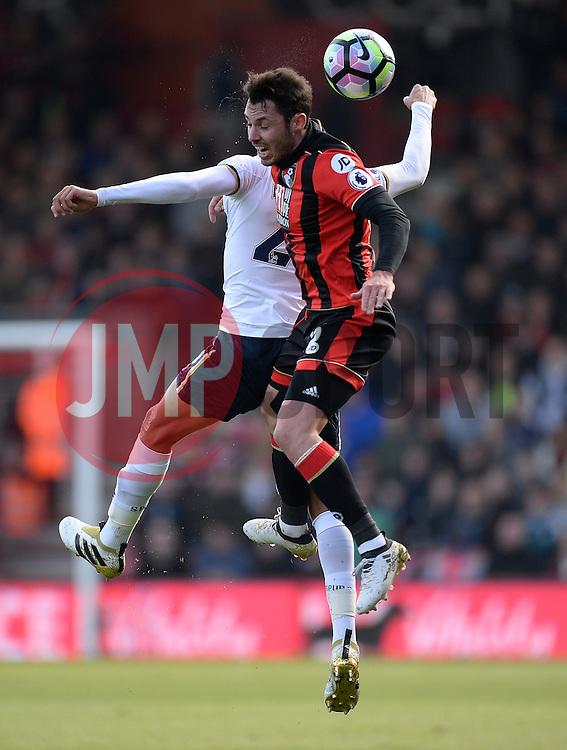 Adam Smith of Bournemouth wins a high ball. - Mandatory by-line: Alex James/JMP - 22/10/2016 - FOOTBALL - Vitality Stadium - Bournemouth, England - AFC Bournemouth v Tottenham Hotspur - Premier League