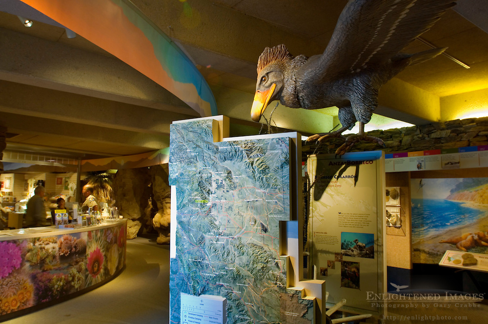Educational exhibits inside the Visitor Center at Anza Borrego Desert State Park, San Diego County, California