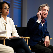 April 17, 2018 - New York, NY : The New York Times hosted Bill Nye for a conversation about climate change with New York Times science writer James Gorman and NYC Rising producer Geraldine Moriba at the Times building on Tuesday evening. Here, from left, Moriba and Nye speak.  CREDIT: Karsten Moran for The New York Times