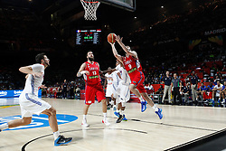 12.09.2014, City Arena, Madrid, ESP, FIBA WM, Frankreich vs Serbien, Halbfinale, im Bild Serbia´s Raduljica and Markovic // during FIBA Basketball World Cup Spain 2014 semifinal match between France and Serbia at the City Arena in Madrid, Spain on 2014/09/12. EXPA Pictures © 2014, PhotoCredit: EXPA/ Alterphotos/ Victor Blanco<br /> <br /> *****ATTENTION - OUT of ESP, SUI*****