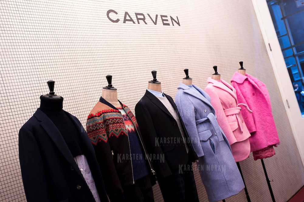 December 5, 2013 - New York, NY: Carven, the French fashion brand, has opened a New York outpost at 83 Mercer Street in SoHo (Soft open Dec. 4, full open Dec. 5). Pictured here, items from the 2013 Fall-Winter collection greet visitors to the store.  CREDIT: Karsten Moran for The New York Times
