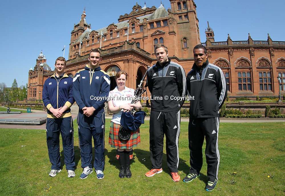 Lote Raikabula and Tim Mikkelson from New Zealand, and Struan Dewar and Adam Ashe from Scotland Sevens learn to play the bagpipes  in Glasgow, Scotland. Photo: Martin Seras Lima/photosport