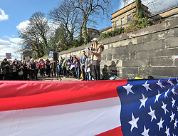 Pictured: Ellie Crozier, who's sister Emma died in the Dunblane shooting, speaks at the rally.<br /> <br /> Protesters demonstrated outside the US Consulate in Edinburgh in support of the 'March for our Lives' movement in America, calling for gun control in the wake of recent high school shootings. Protesters were joined by relatives of victims of the Dunblane shooting.<br /> <br /> © Dave Johnston / EEm