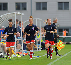 Bristol Academy Womens' substitutes warm on the side line. - Photo mandatory by-line: Nizaam Jones- Mobile: 07583 387221 - 28/09/2014 - SPORT - Women's Football - Bristol - SGS Wise Campus - BAWFC v Man City Ladies - sport