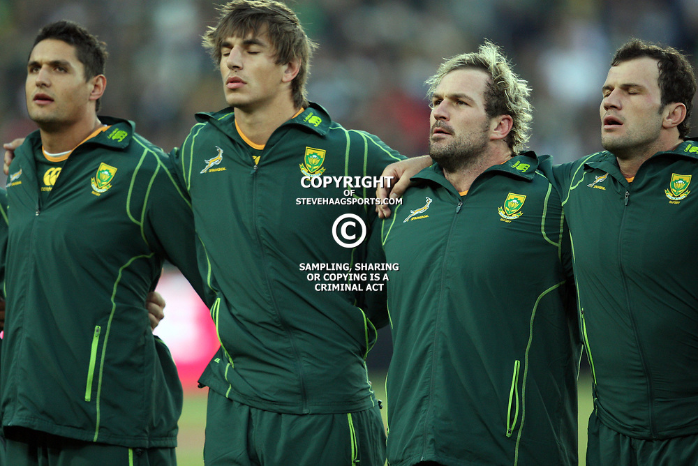 JOHANNESBURG, SOUTH AFRICA - JUNE 16, South African players sing the national anthem during the 2nd Castle Lager Incoming Tour test match between South Africa and England from Coca Cola Park on June 16, 2012 in Johannesburg, South Africa<br /> Photo by Steve Haag / Gallo Images