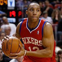 21 January 2012: Philadelphia Sixers shooting guard Evan Turner (12) looks to pass the ball during the Miami Heat 113-92 victory over the Philadelphia Sixers at the AmericanAirlines Arena, Miami, Florida, USA.